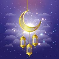 Ramadán kareem linternas doradas y luna colgando