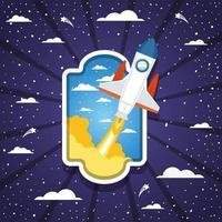 cohete sobre un fondo de nubes vector