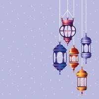 ramadan kareem colored lanterns hanging vector