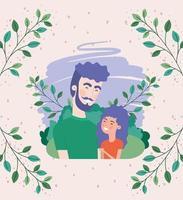 tarjeta del día del padre feliz con follaje y papá e hija vector