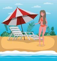 Girl with summer swimwear design vector