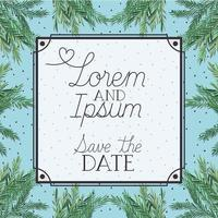 Save the date card in a herbal background template vector