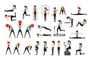 Set of woman doing exercises vector