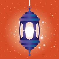 ramadan kareem linterna azul colgando