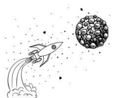 diseño de lanzamiento de cohetes dibujados a mano vector