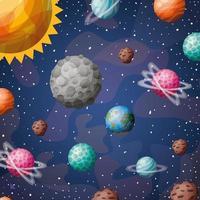 Planetas del sistema solar y diseño de sol ilustración vectorial vector