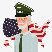 Tarjeta del día de los caídos con bandera de veteranos y Estados Unidos en el mapa