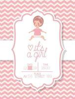 es una tarjeta de baby shower para niña con niño pequeño vector