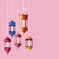 ramadan kareem colored lanterns hanging vector