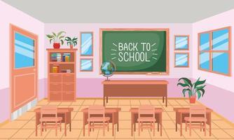 classroom with chalkboard scene vector
