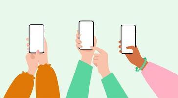 conjunto de manos de mujer con smartphone con pantalla en blanco. mano femenina que sostiene el teléfono móvil. vector