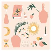 Collection of bohemian vases and modern decoration for home. Boho chic, modern pottery, palm branches, slow living. Flat vector illustration for postcard or stickers.
