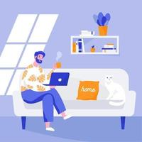 Man sitting on the sofa and working on the laptop. Working from home, remote work. Vector flat illustration.