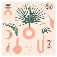 Collection of bohemian vases and modern decoration for home. Boho chic, modern pottery, palm branches. Flat vector illustration for postcard or stickers.