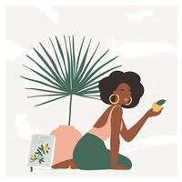 Beautiful bohemian woman sitting on the floor in modern interior with vase and palm leaf. Summer vacation mood, boho chic art print, terracotta. Flat vector illustration in warm pastel colors.