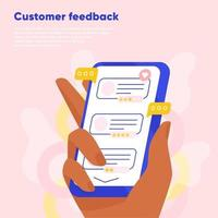 Customer feedback online review. Hand holding the smartphone and leaving a rating and review. Customer reading company feedbacks. Flat vector illustration.
