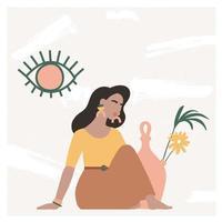 hermosa mujer bohemia sentada en el suelo en un interior moderno y mirando al espejo. humor de vacaciones de verano, impresión de arte boho chic, terracota. ilustración vectorial plana en cálidos colores pastel. vector