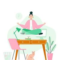 Woman doing yoga in office over desktop. Woman meditating to calm down the stressful emotion from hard work. Concept vector illustration.