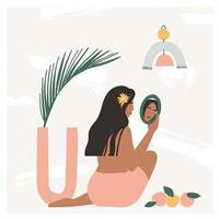 Beautiful bohemian woman sitting on the floor in modern interior and looking at the mirror. Summer vacation mood, boho chic art print, terracotta. Flat vector illustration in warm pastel colors.