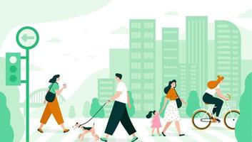 People cross the road in the city. Flat vector illustration.