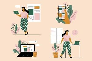 Young woman with laptop and smartphone. Set of 4 illustrations. Vector illustration in flat style.