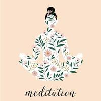 Woman silhouette sitting in meditation  pose. Lotus pose  silhouette. Floral pattern. vector