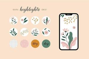 Set of botanical icons for highlights and social media blogs. Flowers and greens in circle frames. Vector illustration.