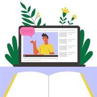 Online teacher on laptop screen. Online education or webinar vector illustration.