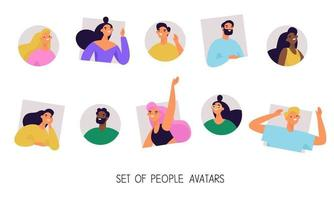 Set of multiethnic diverse people avatars. Collection of profile pictures, user pics of young people or students. vector