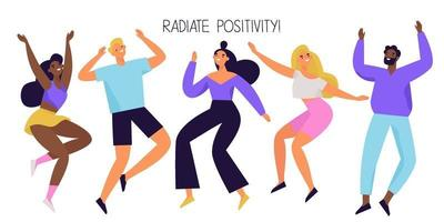 Group of happy people jumping and dancing. Joyful and positive diverse characters. Colorful vector illustration.