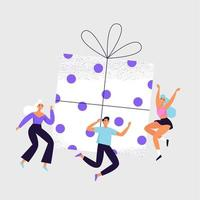 Group of cheerful people jumping around the big gift box. Giveaway and reward banner concept. vector