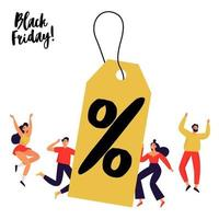 Set of people with big sale discount tag. Black Friday banner. Flat vector illustration.