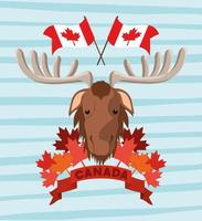 Canada day with moose and maple leaves design vector