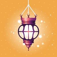 ramadan kareem linterna púrpura colgando