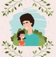 feliz dia del padre con papá e hija vector