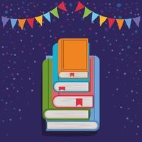 libros apilados y decoración de banderines vector