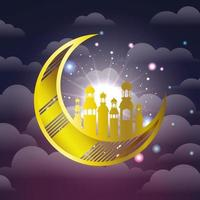 ramadan kareem golden lanterns and moon hanging vector