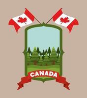 Canadá símbolo y diseño de banderas vector