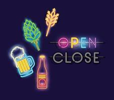 Open bar neon lights vector