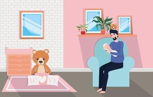 Father with newborn baby at home vector