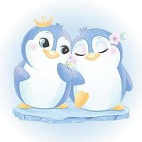 Cute little penguin couple illustration vector