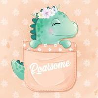 lindo dinosaurio sentado dentro de la ilustración del bolsillo vector