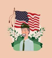 military man with usa flag in the field vector
