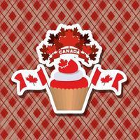 diseño de cupcake y hojas de arce vector