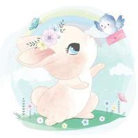 Cute bunny with bird illustration vector