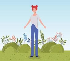 young woman standing outdoors vector