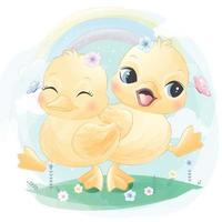Cute ducky with floral illustration vector