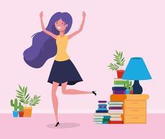 Happy woman in study room design vector