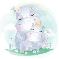 Cute hippo mother and baby illustration vector