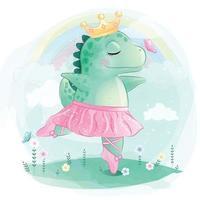 lindo dinosaurio como ilustración de bailarina vector